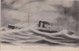 """Bs - Lot De 2 Cpa Le """"Néra""""  + Par Grosse Mer - Messageries Maritimes - Steamers"""
