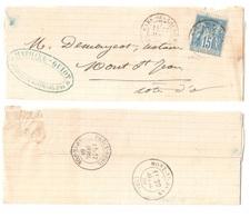 GARE-DES-LAUMES Cote D'Or (20) 21 Pothion N° 614 27 Avril 84 Sur Lettre Entière 15c Sage Bleu Yv 90  Precy Mont-St-Jean - Marcophilie (Lettres)