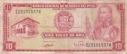 DIEZ SOLES DE ORO. PERU. GARCILASO INCA DE LA VEGA, SERIE I, CIRCA 1975-BILLETE BANKNOTE BILLET-BLEUP - Peru
