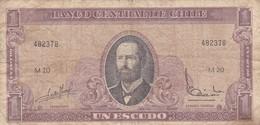 UN ESCUDO SERIE M. ARTURO PRAT, CHILE. CIRCA 1965s-BILLETE BANKNOTE BILLET-BLEUP - Chile
