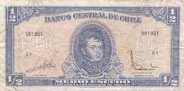 MEDIO ESCUDO SERIE E. BERNARDO O'HIGGINS, CHILE. CIRCA 1965s-BILLETE BANKNOTE BILLET-BLEUP - Chile