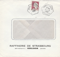 LSC 1964 - Cachet  Hexagonal  Perlé - HERLISHEIM  (Bas Rhin) - Raffinerie De STRASBOURG - Handstempels