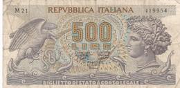500 LIRE REPUBBLICA ITALIANA. CIRCA 1960s-BILLETE BANKNOTE BILLET-BLEUP - [ 2] 1946-… : Républic