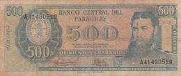 500 GUARANIES, GENERAL BERNADINO CABALLERO. CIRCA 1980s-BILLETE BANKNOTE BILLET-BLEUP - Paraguay