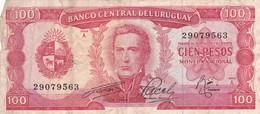 CIEN PESOS, SERIE A. URUGUAY. CIRCA 1970s-BILLETE BANKNOTE BILLET-BLEUP - Uruguay