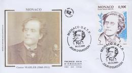 Enveloppe  FDC  1er   Jour   MONACO     Gustav   MAHLER   2011 - Musica