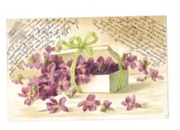 Fleurs Violettes Dans Un Panier - Gaufrée - 5333 - Flores