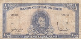 MEDIO ESCUDO, SERIE D, BERNARDO O'HIGGINS. CHILE. CIRCA 1965s-BILLETE BANKNOTE BILLET-BLEUP - Chili