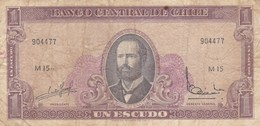 UN ESCUDO, SERIE M, ARTURO PRAT. CHILE. CIRCA 1965s-BILLETE BANKNOTE BILLET-BLEUP - Chili