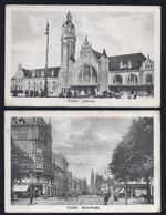 1921 4 X PK CREFELD BAHNHOF RHEINSTRASSE BISMARCKPLATZ HOCH UND FRIEDRICHSTRASSE - KREFELD POSTES MILITAIRES BELGIQUE - Krefeld