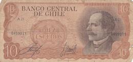DIEZ ESCUDO, SERIE A, J M BALMACEDA. CHILE. CIRCA 1965s-BILLETE BANKNOTE BILLET-BLEUP - Chili