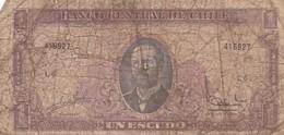 UN ESCUDO, SERIE L, ARTURO PRAT. CHILE. CIRCA 1965s-BILLETE BANKNOTE BILLET-BLEUP - Chili