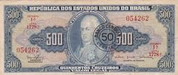 QUINHENTOS CRUZEIROS-50 CENTAVO- D JOAO VI. BRASIL. CIRCA 1940s-BILLETE BANKNOTE BILLET NOTA-BLEUP - Brazil