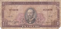 UN ESCUDO. ARTURO PRAT. CIRCA 1960s-BILLETE BANKNOTE BILLET NOTA-BLEUP - Chili