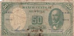 CINCUENTA PESOS. CHILE. CIRCA 1950s-BILLETE BANKNOTE BILLET NOTA-BLEUP - Chili
