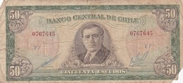 CINCUENTA ESCUDOS. A. ALESSANDRI. CHILE. CIRCA 1960s-BILLETE BANKNOTE BILLET NOTA-BLEUP - Chili