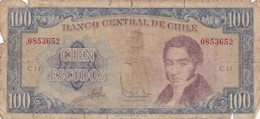 CIEN ESCUDOS. MANUEL RENGIFO. CHILE. CIRCA 1960s-BILLETE BANKNOTE BILLET NOTA-BLEUP - Chile