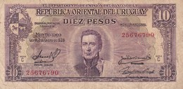 DIEZ PESOS. URUGUAY. CIRCA 1940s-BILLETE BANKNOTE BILLET NOTA-BLEUP - Uruguay