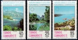 Turkey 1983 European Campaign -  Nature Protection 3 Values MNH Ölüdeniz, Olimpos, Kakova - Environment & Climate Protection