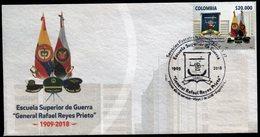 "COLOMBIA- KOLUMBIEN- 2018 FDC/SPD. SUPERIOR SCHOOL WAR "" RAFAEL REYES- GENERAL. HIGH FACIAL VALUE - Colombia"