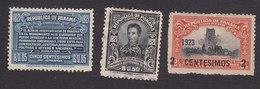 Panama, Scott #225, 231, 233, Used/Mint Hinged, Bolivar's Tribute, Fabrega, Ruins Surcharged, Issued 1921-23 - Panama