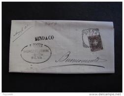 """3017 ITALIA Regno-1896-97- """"Stemma"""" C. 1 SIENA>BUONCONVENTO (descrizione) - 1878-00 Umberto I"""