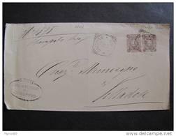 """1126 ITALIA Regno-1896-97- """"Stemma"""" C. 1 Coppia CRESPINO>VILLADOSE (descrizione) - Marcophilia"""