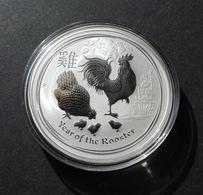 Australia, Lunar II 2017 Rooster 1 Oz Silver 999 Pure - 1 Oncia Argento Puro Bullion Perth Mint Gallo - Mint Sets & Proof Sets