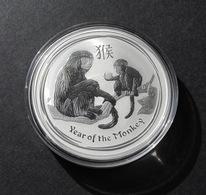 Australia, Lunar II 2016 Monkey 1 Oz Silver 999 Pure - 1 Oncia Argento Puro Bullion Perth Mint Scimmia - Australia