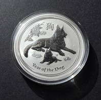 Australia, Lunar II 2018 Dog 1 Oz Silver 999 Pure - 1 Oncia Argento Puro Bullion Perth Mint Cane - Australia