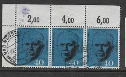 Federal Republic, 1960, George Marshall, Positional Strip Of 3, 40pf, Used Used - [7] Federal Republic