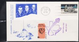 SPACE - USA - 1972 - APOLLO 16 ILLUSTRATED COVER WITH NASA LOCAL POST LABEL HOUSTON APR 27 1972  POSTMARK - Covers & Documents