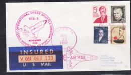 SPACE - USA - 1982 - SHUTTLE STS 5 INSURED  COVER  TO GERMANY  NOV 11 1982   POSTMARK - Covers & Documents