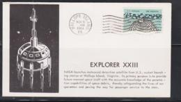 SPACE - USA - 1964 -  EXPLORER XXIII ILUSTRATED  COVER  WITH WALLOPS ISLAND  NOV 6 1964  POSTMARK - Covers & Documents