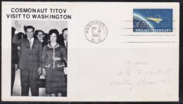 SPACE - USA - 1962 - TITOV VISIT TO WASHINGTON WITH WASHINGTO  MAY 3  1962  POSTMARK - Covers & Documents