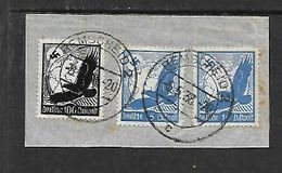 Germany,air Mail Eagles, 100pf, 2 X 15pf On Fragment, REMSCHEID 2  5.5.38 C.d.s.c.d.s. - Used Stamps