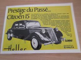 Page De Revue Des Années 60/70 : PUBLICITE MAQUETTES HELLER CITROEN 15 , Format 1/2 Page A4 - Avions
