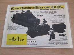 Page De Revue Des Années 60/70 : PUBLICITE MAQUETTES HELLER JEEP + SOMUA  Format 1/2 Page A4 - Véhicules Militaires
