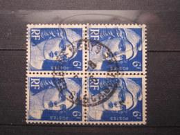 """VEND TIMBRES DE FRANCE N° 720 EN BLOC DE 4, CACHET """" CHARGEMENTS CARCASSONNE """" !!! - 1945-54 Marianne De Gandon"""