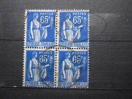 """VEND TIMBRES DE FRANCE N° 365 EN BLOC DE 4 , CACHET """" CHAVIGNON """" !!! - 1932-39 Paix"""