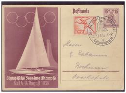 Dt-Reich (005551) Ganzsache P260 Olympische Segelwettkämpfe Mit SST Olympiade Berlin Deutschlandhalle Am 10.8.1936 - Ganzsachen