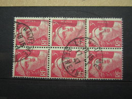 """VEND TIMBRES DE FRANCE N° 716 EN BLOC DE 6 , CACHET """" LE HOULME """" !!! - 1945-54 Marianne De Gandon"""