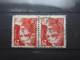 """VEND TIMBRES DE FRANCE N° 729 EN PAIRE , CACHET A CERCLE TIRETE """" MARCILLY S/VIENNE """" !!! - 1945-54 Marianne De Gandon"""
