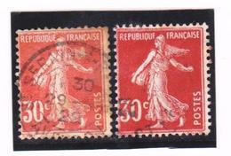 FRANCE   1921-22  Y.T. N° 160  Orange Et Rouge  Oblitéré - 1906-38 Säerin, Untergrund Glatt
