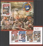 UU254 2017 CENTRAL AFRICA SPACE 50TH ANNIVERSARY APOLLO 1 KB+BL MNH - Space