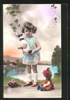AK Mädchen Mit Puppe Und Plüschhund - Sweden
