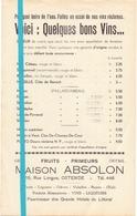 Pub Reclame - Bons Vins Maison Absolon Ostende - Likeur  Wijn Oostende - Publicités