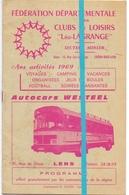 Pub Reclame - Autocars Westeel - Lens - Programme Voyages 1969 - Publicités