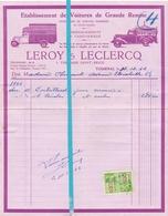 Factuur Facture - Ets De Voitures - Leroy & Leclercq - Tournai - Doornik - 1942 - Cars