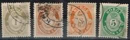 Norwegen 1909, Michel# 75 - 78 A, 81 - 82 A + 84 A O  O - Gebraucht